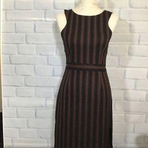 Anthropologie Maeve Brown Knit Midi Dress